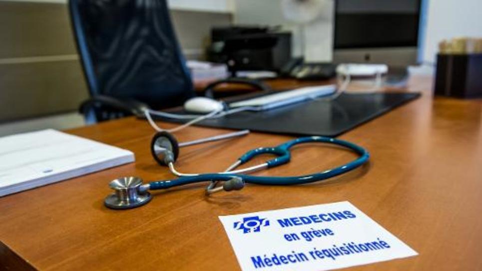 Le cabinet d'un médecin en grève le 29 décembre 2014 à Lille