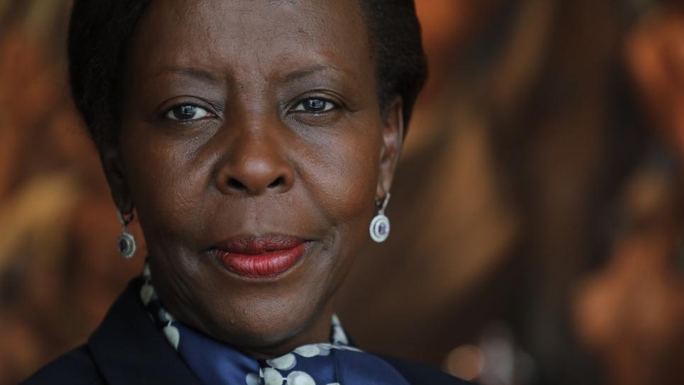 La ministre rwandaise des affaires étrangères, Louise Mushikiwabo, le 25 septembre 2018 lors de l'assemblée générale de l'ONU à New York