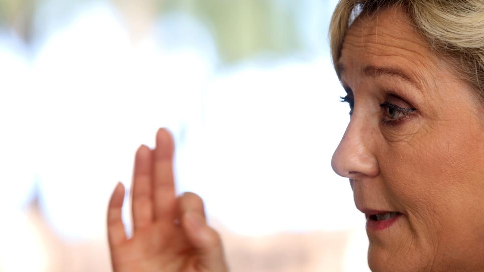 La présidente du Rassemblement national Marine Le Pen, le 28 mars 2019 à La Réunion