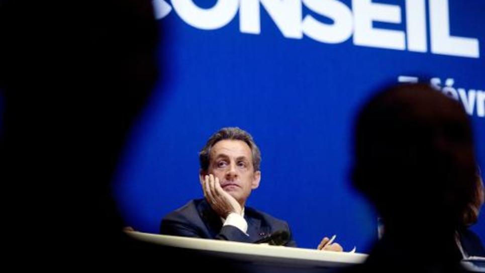 Le président de l'UMP Nicolas Sarkozy à Paris, le 7 février