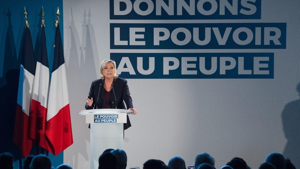 Marine Le Pen, présidente du Rassemblement national, le 19 janvier 2019 à Le Thor, près d'Avignon