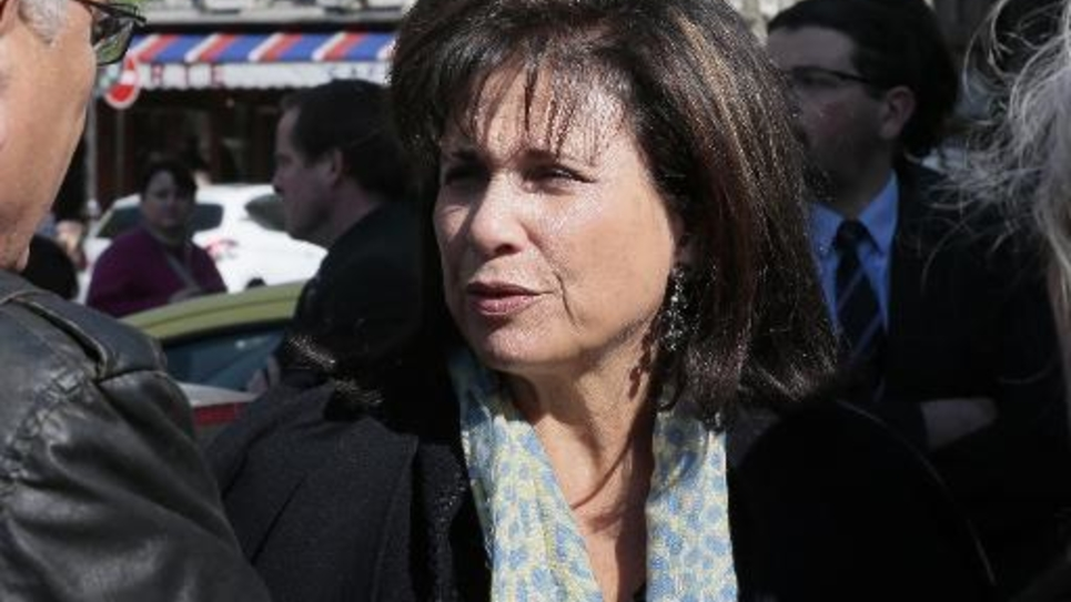La journaliste française Anne Sinclair le 10 avril 2014 à Paris