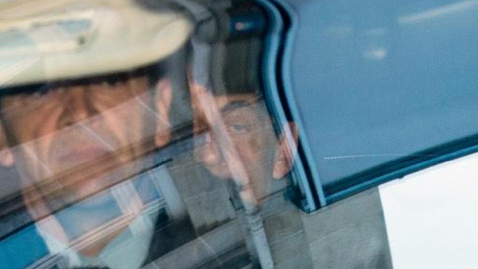 Nicolas Sarkozy à son arrivée au pôle financier le 1er avril 2015 à Paris