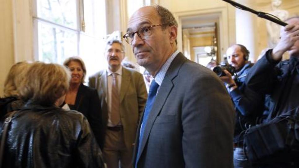 Eric Woerth à la sortie du bureau politique de l'UMP le 25 mai 2014 à l'Assemblée nationale à Paris