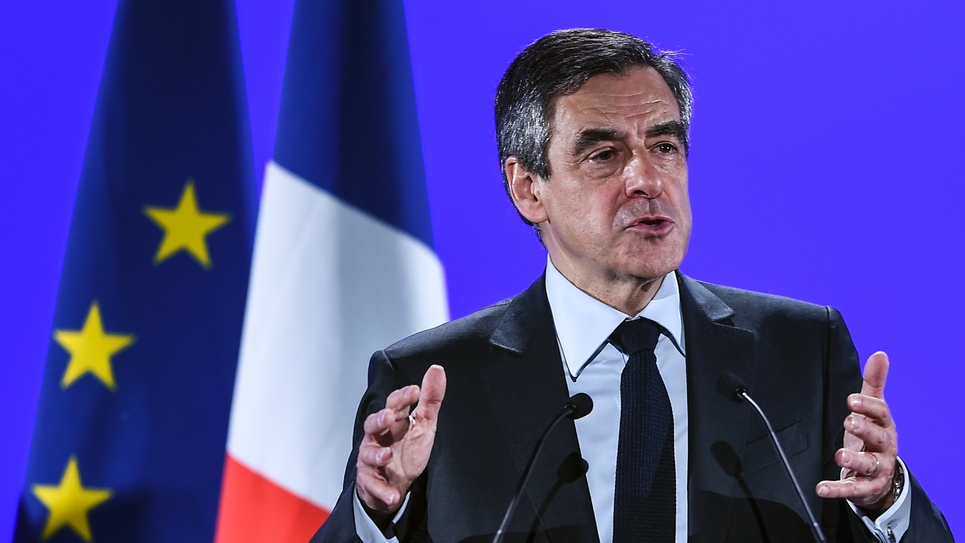 François Fillon, candidat LR à la présidentielle, lors d'un meeting à Besançon, le 9 mars 2017