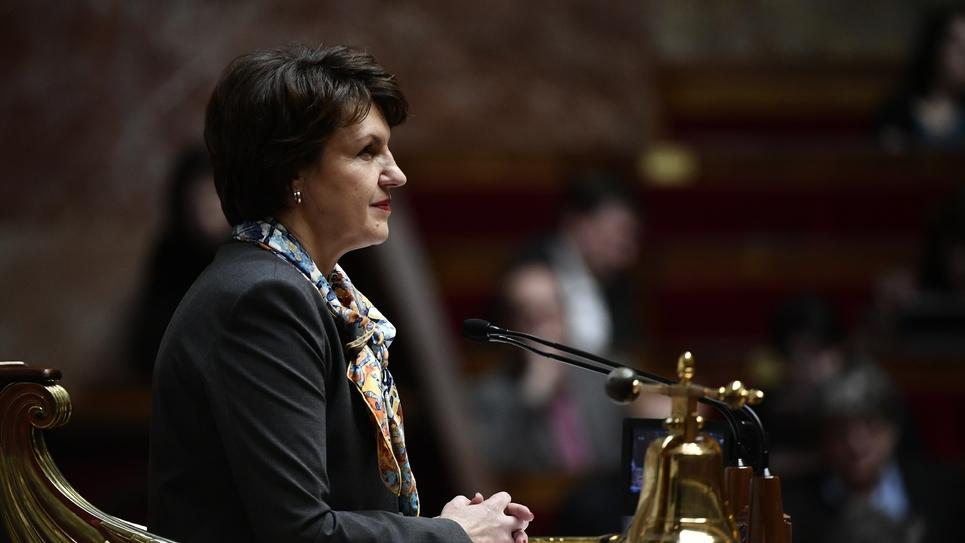 La vice-présidente LR de l'Assemblée Nationale Annie Genevard à l'Assemblée nationale le 07 mars 2018