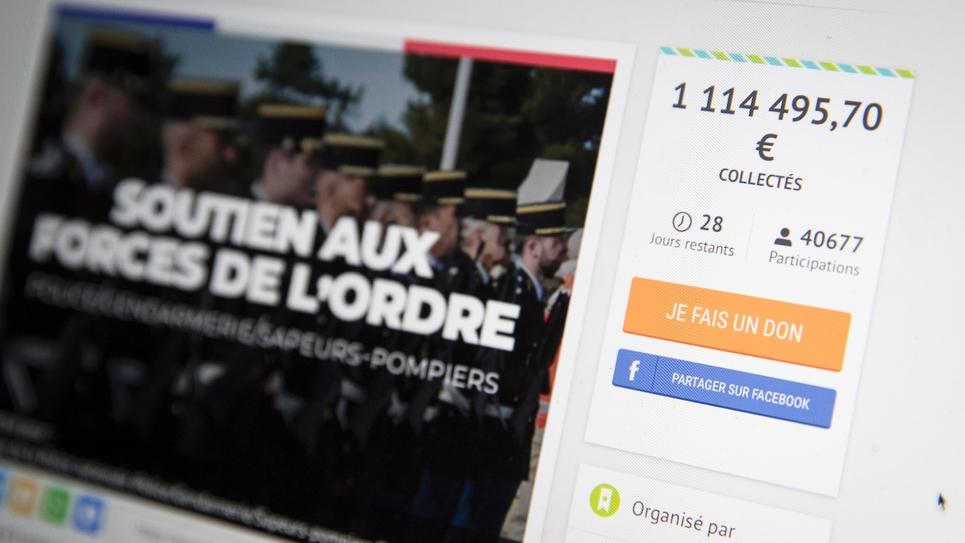 La page d'accueil de la cagnotte en faveur des forces de l'ordre, le 10 janvier 2019 à Paris