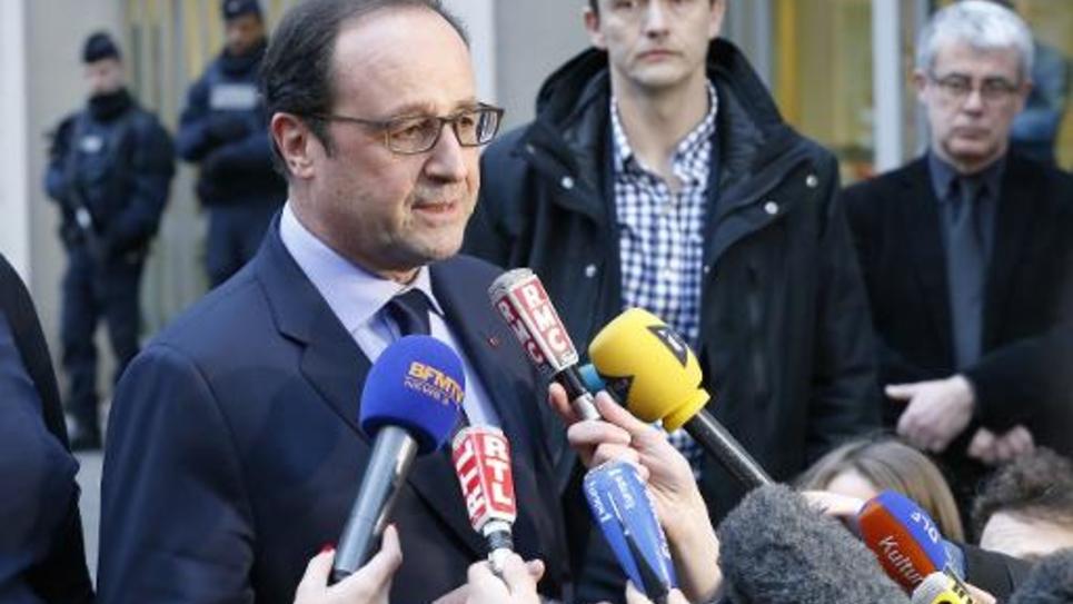 Le président François Hollande à l'ambassade du Danemark à Paris le 15 février 2015