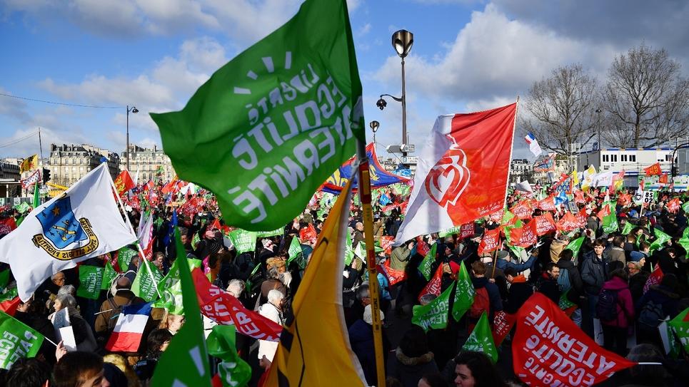 Banderoles et drapeaux durant le défilé de La Manif pour tous, contre la PMA pour toutes, le 19 janvier 2020 à Paris.