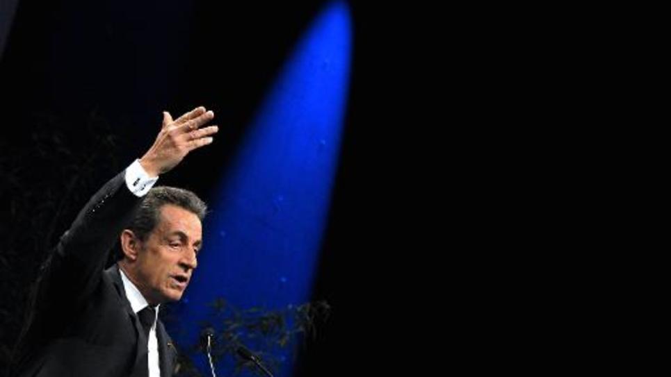 Nicolas Sarkozy lors d'un meeting organisé par l'association Sens commun le 15 novembre 2014 à Paris