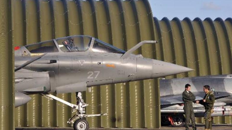 Photo d'archives de l'avion de combat Rafale sur la base 118 de Mont-de-Marsan dans le sud-ouest de la France