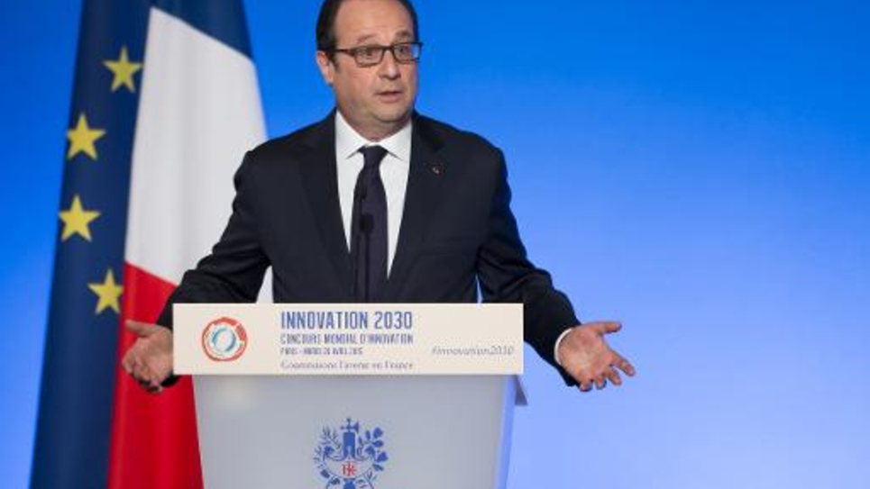 François Hollande le 28 avril 2015 à l'Elysée où il reçoit les lauréats du concours de l'innovation