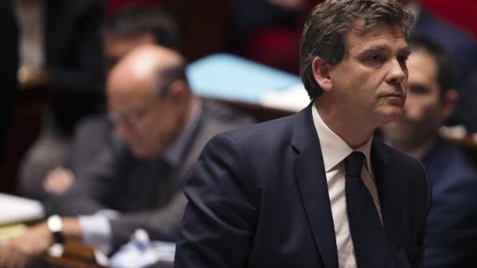 Arnaud Montebourg, ministre de l'Economie, à l'Assemblée Nationale, le 20 mai 2014 à Paris