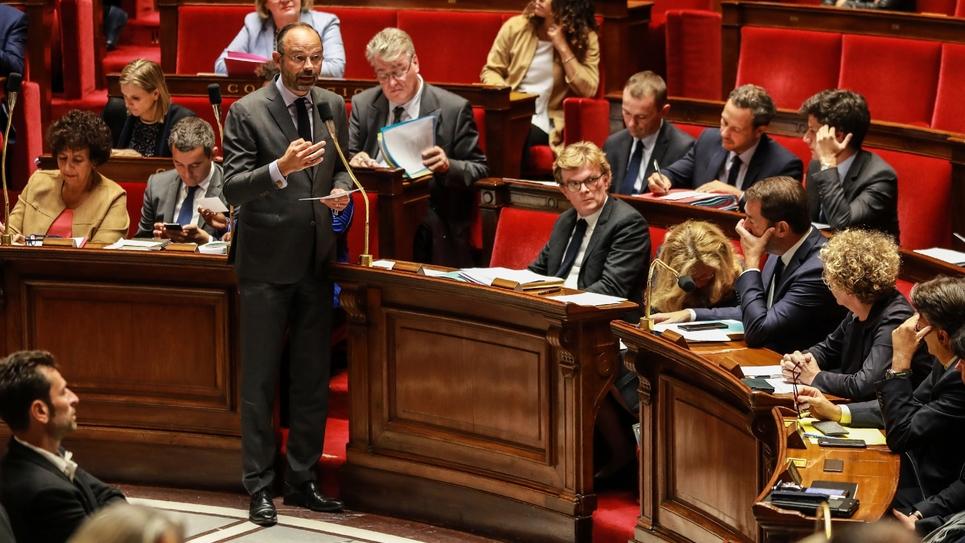 Le Premier ministre Edouard Philippe s'adresse aux députés, le 24 septembre 2019 à Paris
