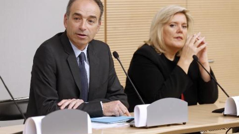 Jean-François Copé et la secrétaire générale de l'UMP, Michèle Tabarot, à Paris le 2 avril 2014