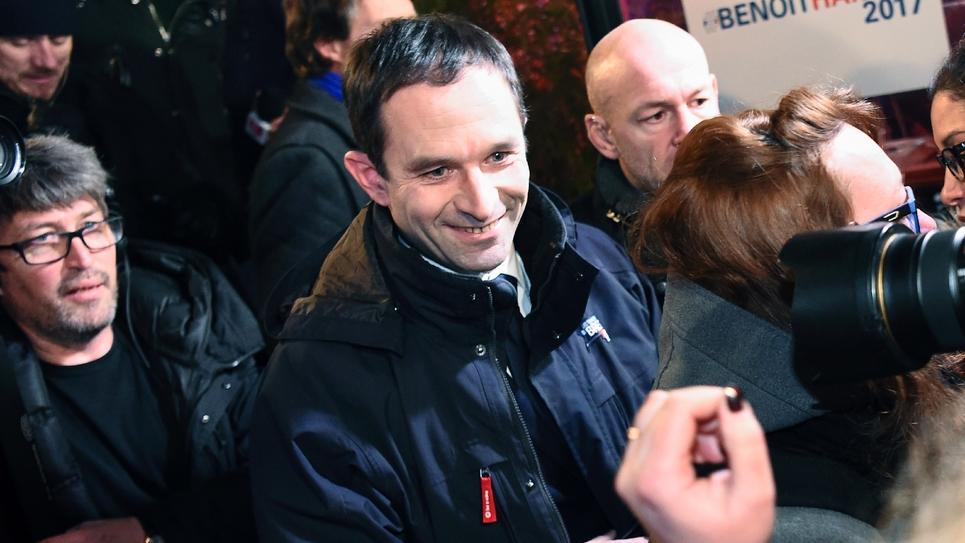 Benoît Hamon arrive à son QG de campagne, le 22 janvier 2017
