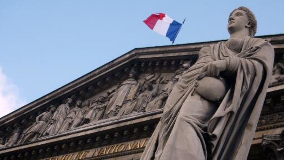 La façade de l'Assemblée nationale, en mars 2009