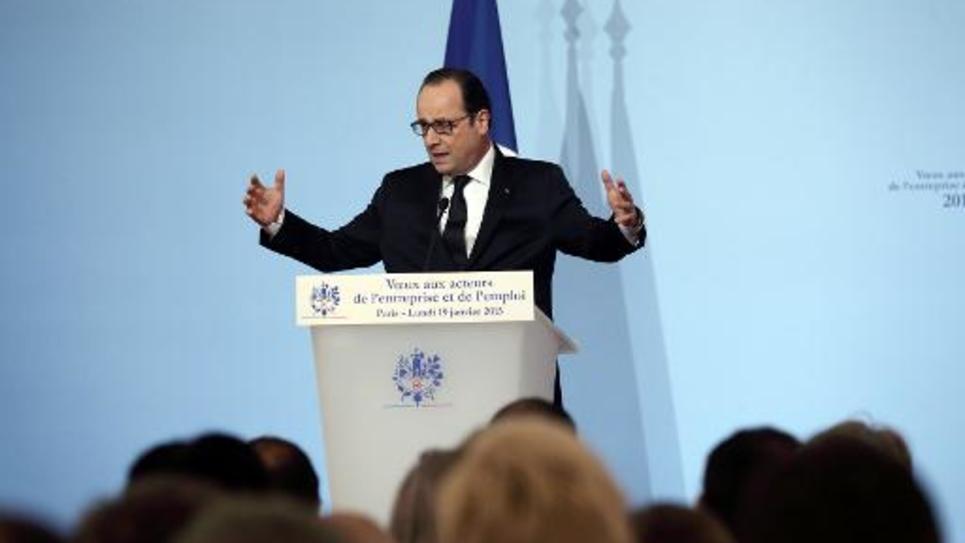 François Hollande lors de ses voeux aux partenaires sociaux le 19 janvier 2015 à l'Elysée