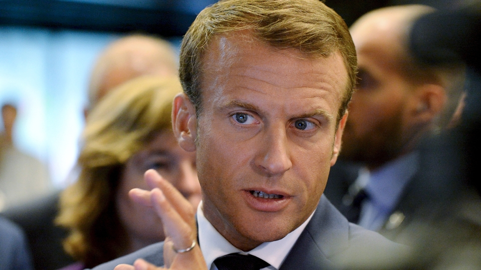 Le président Emmanuel  Macron en visite officielle à Helsinki (Finlande) le 30 août 2018.