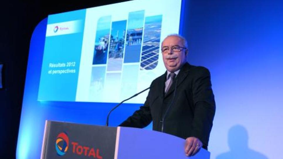 Christophe de Margerie, patron de Total, présente les résultats 2012 du groupe, le 13 février 2013 à Paris