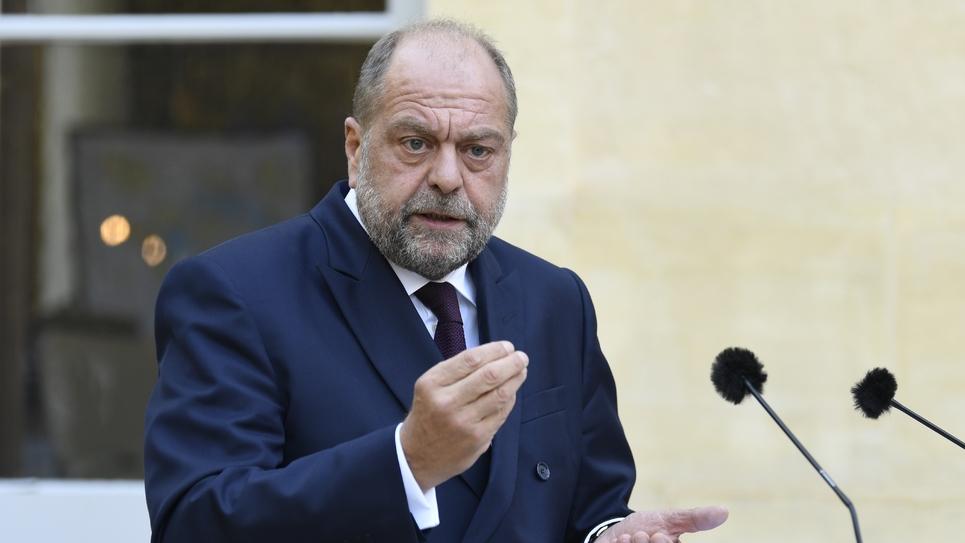 Le ministre de la Justice, Eric Dupond-Moretti, lors d'une conférence de presse, le 21 septembre 2020 à Paris