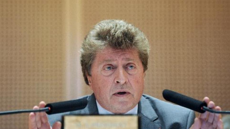 Damien Alary, tout juste élu président de la région Languedoc-Roussillon, le 29 septembre 2014, à Montpellier