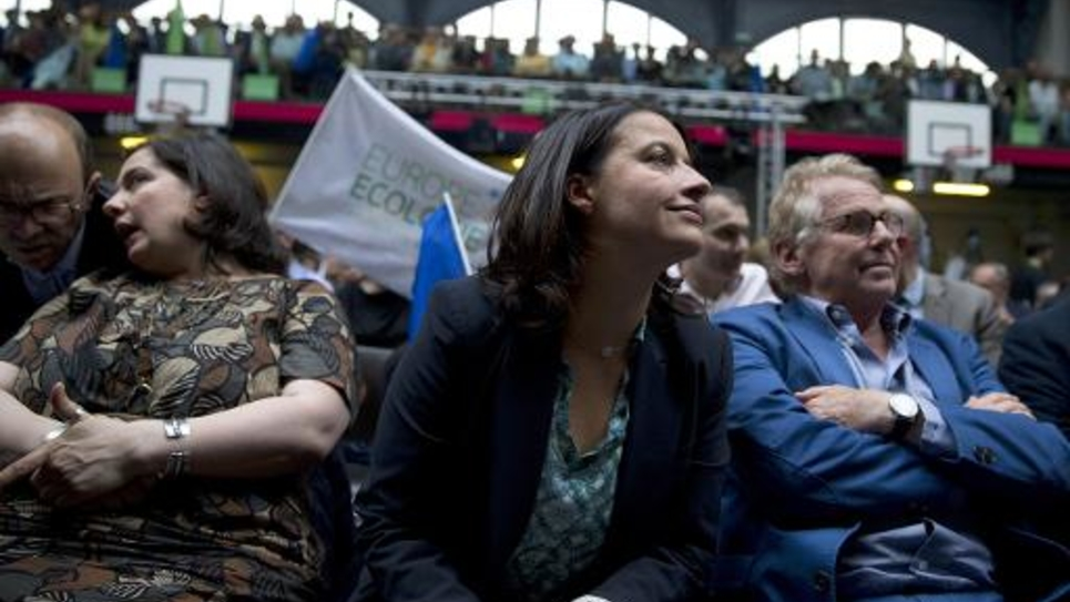 Emmanuelle Cosse, Cécile Duflot et Daniel Cohn-Bendit lors d'un meeting pour  les élections européennes, à Paris le 22 mai 2014