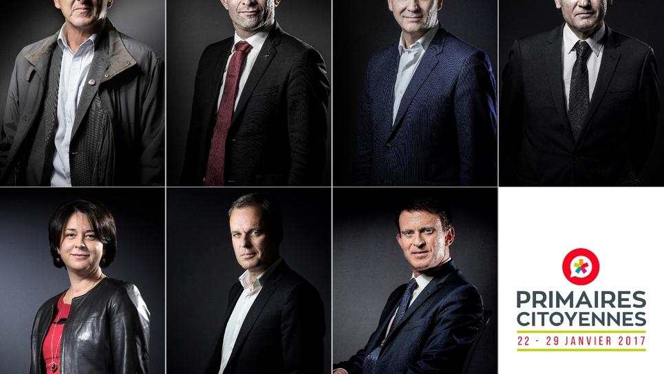 Photomontage fait le 22 décembre 2016 de sept candidat à la primaire du PS