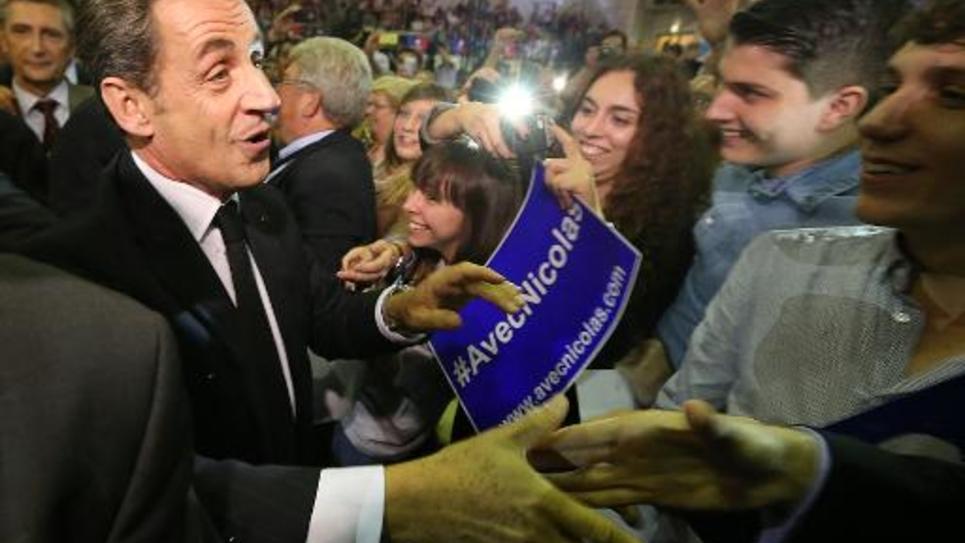 Nicolas Sarkozy en meeting le  2 octobre  2014 in Saint-Julien-les-Villas dans la banlieue troyenne