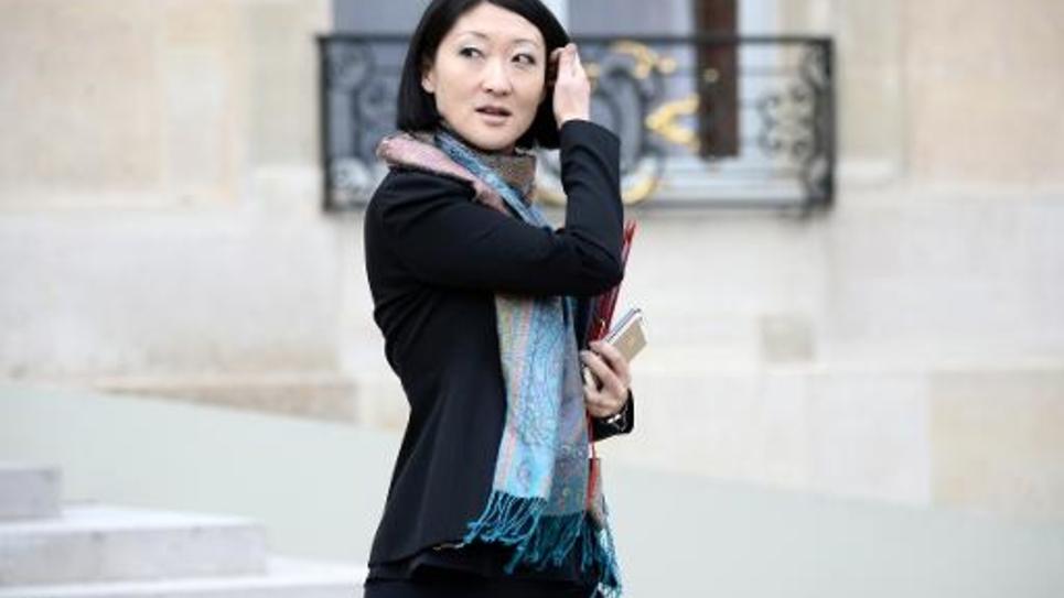 La ministre de la Culture Fleur Pellerin quitte l'Elysée après le conseil des ministres, le 18 février 2015