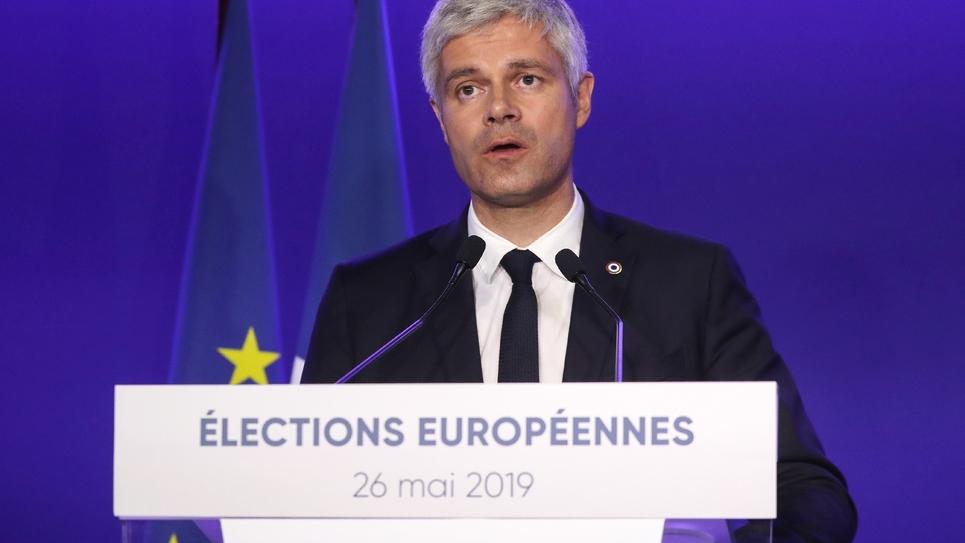 Le président des Républicains, Laurent Wauquiez commente les premiers résultats des élections européennes, le 26 mai 2019 à Paris
