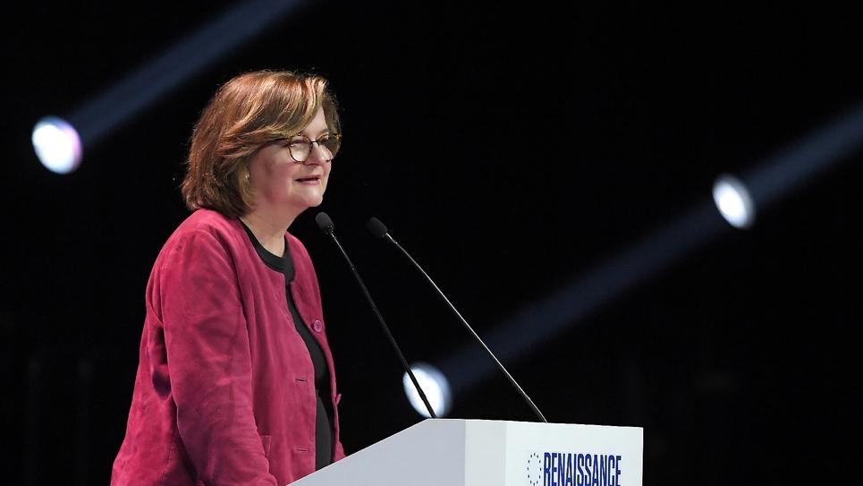 Nathalie Loiseau, tête de liste LREM aux élections européennes, en meeting à Strasbourg, le 11 mai 2019