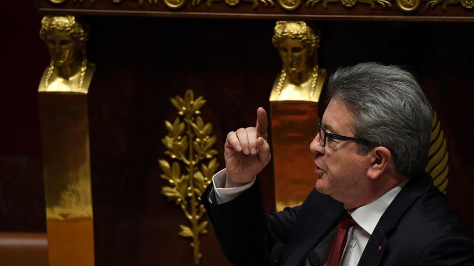 Le dirigeant de La France insoumise (LFI), Jean-Luc Mélenchon, à la tribune de l'Assemblée nationale à Paris, le 5 décembre 2018