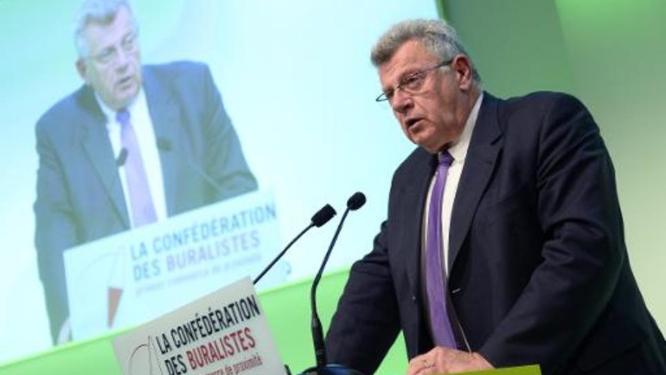Le secrétaire d'Etat français au Budget Christian Eckert lors d'un discours au congrès natinal des buralistes à Paris le 6 novembre 2014
