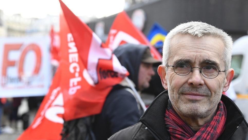 Yves Veyrier, secrétaire général de FO, lors d'une manifestation le 7 février 2019 à Paris