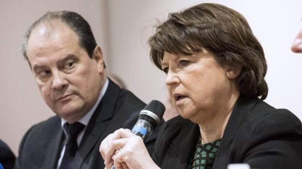 La maire de Lille Martine Aubry et le Premier secrétaire du Parti socialiste Jean-Christophe Cambadélis, le 23 janvier 2015 lors d'une conférence de presse à Lille