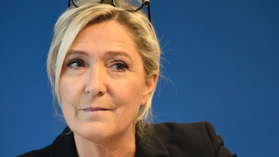 Marine Le Pen le 16 janvier 2020 lors de ses voeux à la presse, au siège du RN à Nanterre