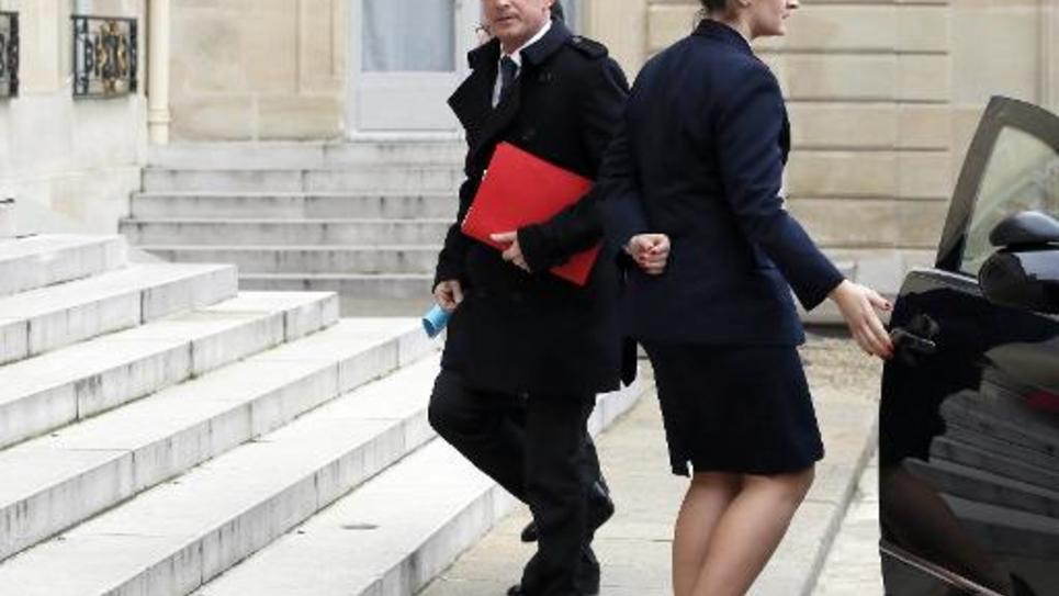 Le Premier ministre Manuel Valls arrive à l'Elysée, le 7 janvier 2015
