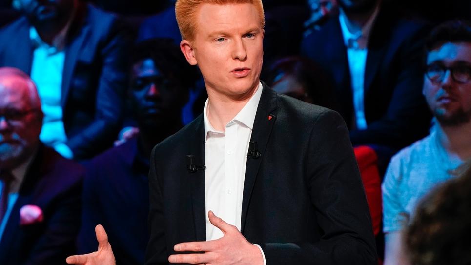 Le député La France insoumise (LFI) Adrien Quatennens lors d'un débat radio télévisé pour les élections européennes, le 10 avril 2019 à Boulogne-Billancourt