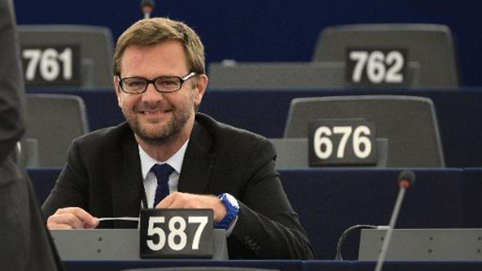 Le député européen Jérôme Lavrilleux au Parlement de Strasbourg le 21 octobre 2014