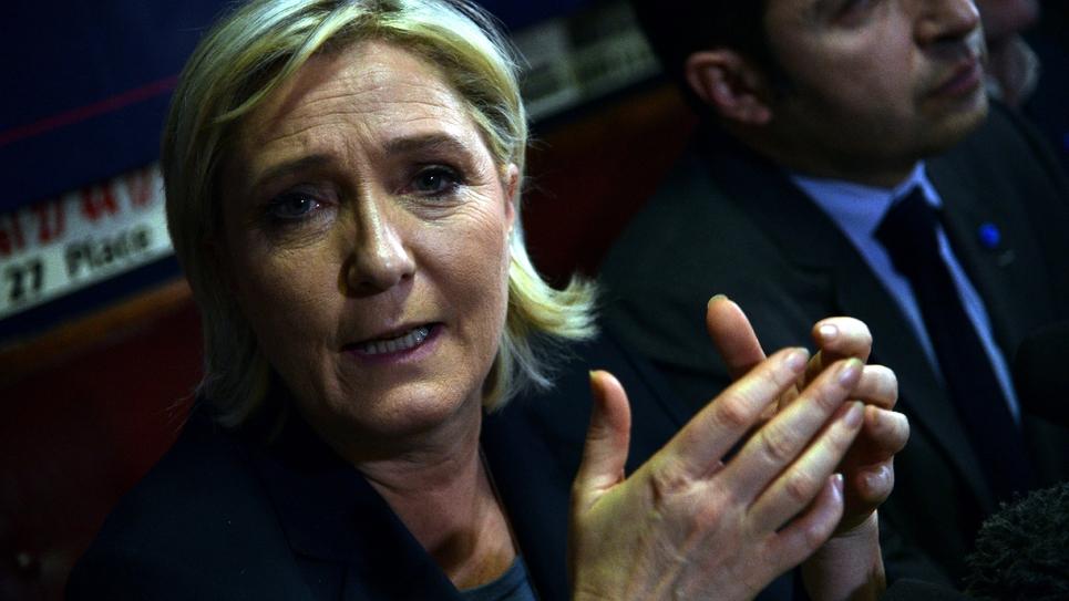 La présidente du Front national, Marine Le Pen, le 27 janvier 2017 à Bouchain dans le Nord