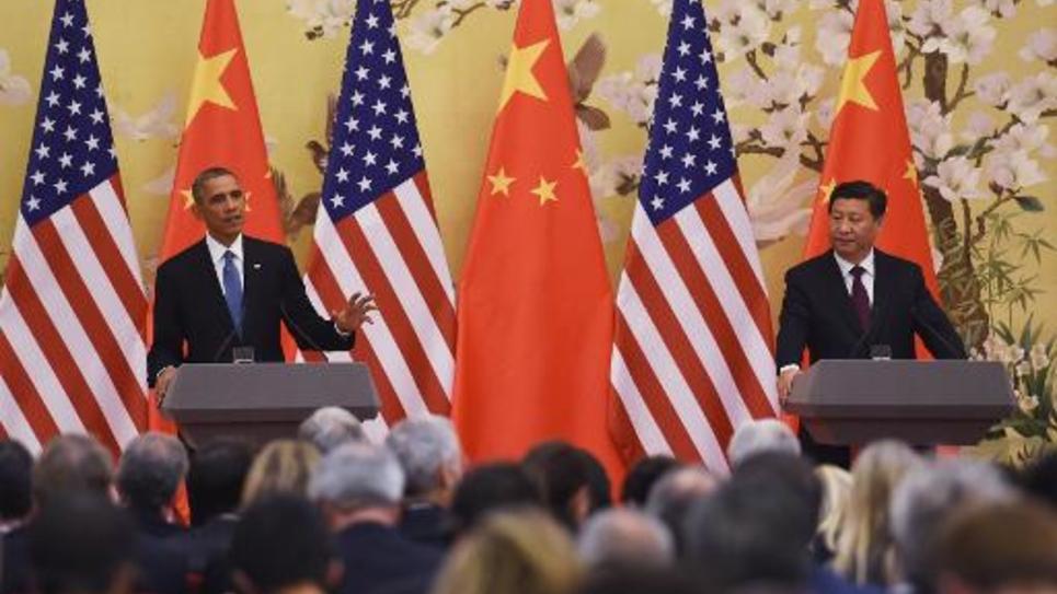 Les présidents américain Barack Obama et chinois Xi Jinping lors d'une conférence de presse le 12 novembre 2014 à Pékin