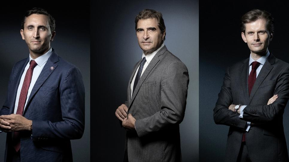 Les candidats à l'élection à la présidence du parti Les Républicains, Julien Aubert, Christian Jacob et Guillaume Larrivé