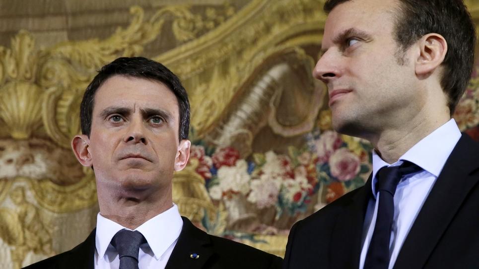 Manuel Valls et Emmanuel Macron à Paris le 8 février 2016