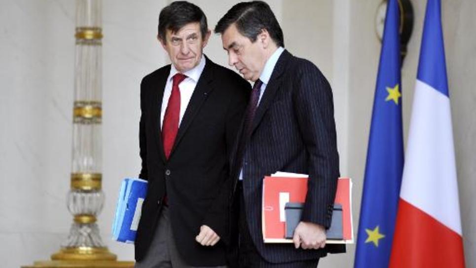 Francois Fillon et Jean-Pierre Jouyet sur le perron de l'Elysée le 12 novembre 2014