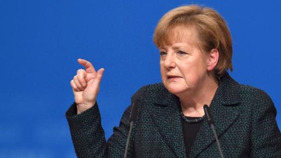 La chancelière allemande Angela Merkel lors d'un discours devant les membres de son parti à Cologne le 9 décembre 2014