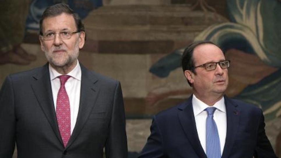 Le chef du gouvernement espagnol Mariano Rajoy reçu à l'Elysée par le président François Hollande le 1er décembre 2014 à Paris
