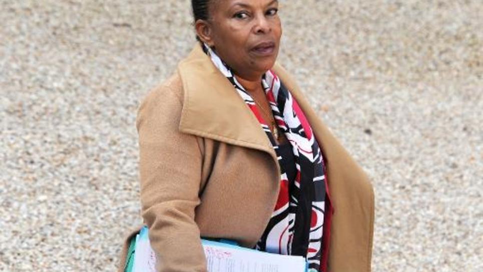 La ministre française de la Justice Christiane Taubira quitte le palais de l'Elysée à Paris le 12 novembre 2014