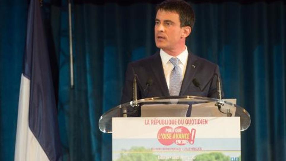 Le Premier ministre Manuel Valls lors d'un meeting à Bresles dans l'Oise, le 9 mars 2015