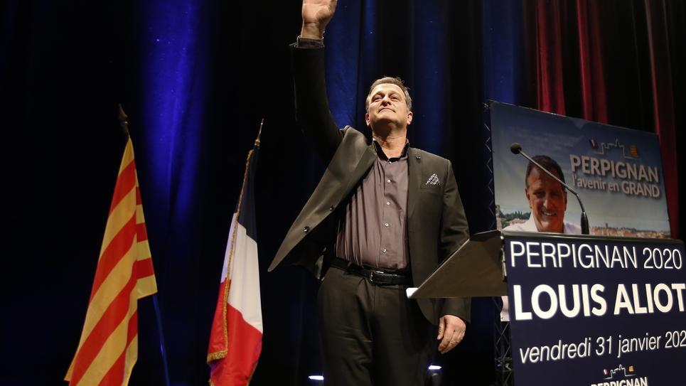 Le candidat du RN Louis Aliot lors d'un meeting de campagne, le 31 janvier 2020 à Perpignan